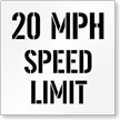 20 MPH Speed Limit Parking Lot Stencil