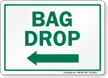Bag Drop Left Arrow Golf Recreation Sign