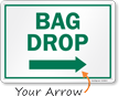 Bag Drop Right Arrow Golf Recreation Sign