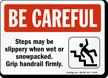 Be Careful Steps Slippery Sign