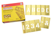 Brass Interlocking Letter and Number Stencils, 45 Piece