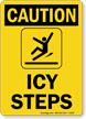 Caution Icy Steps Sign