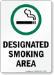 Designated Smoking Area with Cigarette Graphic Sign