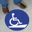 Handicap Symbol for Ramp Access Floor Sign