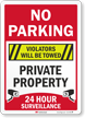 No Parking Violators Towed 24 Hour Surveillance Sign