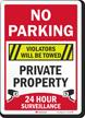 No Parking Violators Towed 24 Hour Surveillance Sign
