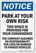 Company Assumes No Responsibility Sign