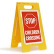 STOP Children Crossing Standing Floor Sign