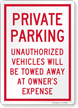 Unauthorized Vehicles Towed At Owners Expense Sign