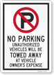 Unauthorized Vehicles Will Be Towed No Parking Sign