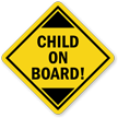 Child On-Board Car Hang Tag and Label