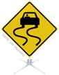 Slippery When Wet Symbol Roll-Up Sign