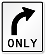 Right Turn Only Regulatory Traffic Sign Symbol