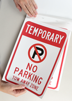 Temporary No Parking SignBook With No Parking Symbol