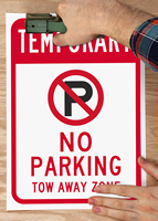 Temporary No Parking, Tow Away Zone with Plastic Signs in Rip-Out SignBook