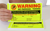 Warning Move Vehicle Avoid Towing Stickers