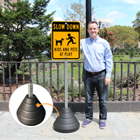 Recycled Rubber Signs Base Kit with Metal Post