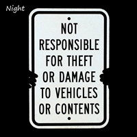 Not Responsible Property Sign