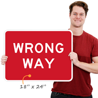 Small wrong way sign