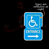 Entrance Sign With Handicap Symbol And Right Arrow