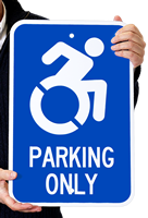 Parking Only (With Access Symbol) Sign