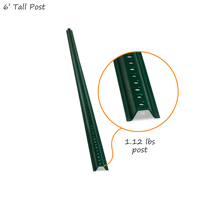 U-Channel Sign Post Kit - 6' tall, Standard (with nuts & bolts)
