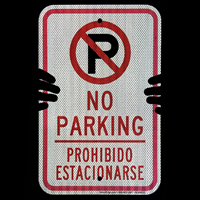 Restricted Parking Sign with no parking symbol