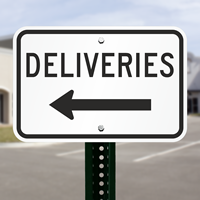 Deliveries With left Arrow Parking Lot Sign