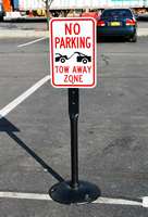 No Parking Tow Zone Aluminum Sign