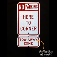 Tow Away Zone Reflective Aluminum Sign