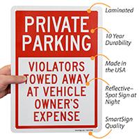 Private Parking Violators Towed Away Signs