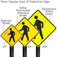 Three popular pedestrian crossing signs