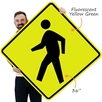 Large pedestrian crossing symbol sign