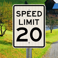 Speed Limit 20 MPH Aluminum Speed Limit Sign