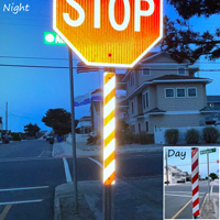 Striped delineator sign for sign posts