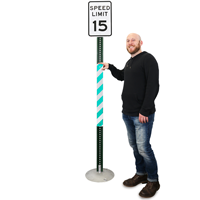 Green/White Reflective Sign Posts