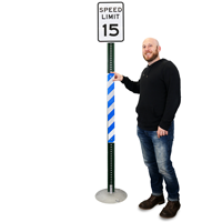 Blue/White Reflective Sign Posts