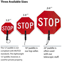 Three sizes of stop paddles