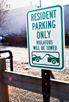 Resident Parking Only Towing Sign