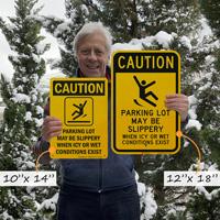 Caution icy parkign lot warning sign