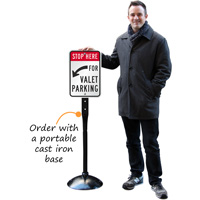 Stop here for valet parking signs