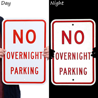 No Overnight Parking Regulation Sign