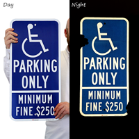 California Combination Handicap Parking Sign, Minimum Fine $250