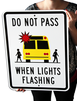 graphic School Bus,Do Not Pass Sign
