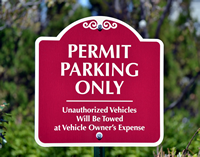 Permit Parking Only Unauthorized Vehicles Towed Signs