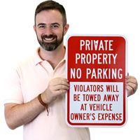 Private Property No Parking Sign