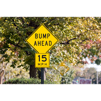 Bump Ahead Sign In Diamond Shape
