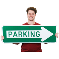 Parking Sign With Right Arrow