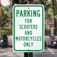 Parking For Scooters And Motorcycles Only,Parking Sign