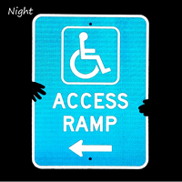 Access Ramp Parking Sign With Left arrow